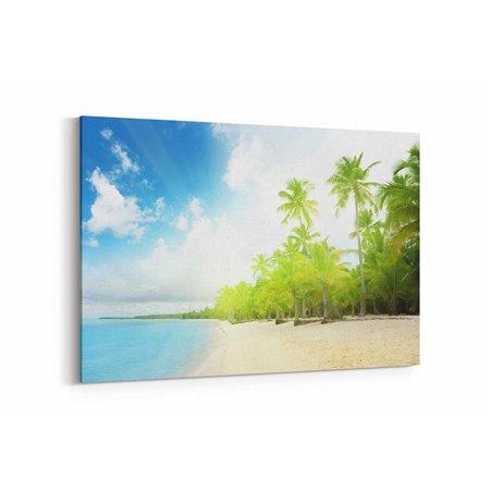 Palmiyeler Sahilde Kanvas Tablosu