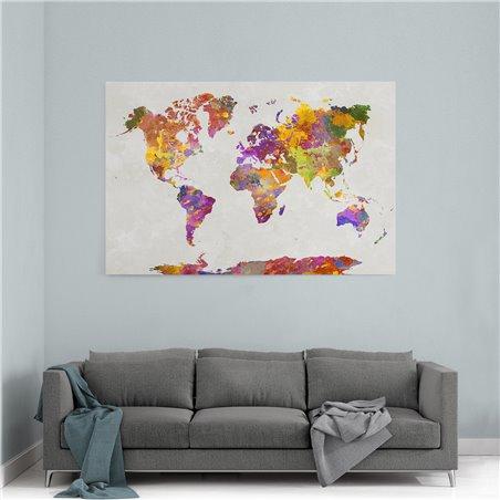 Sulu Boya Dünya Haritası Kanvas Tablosu