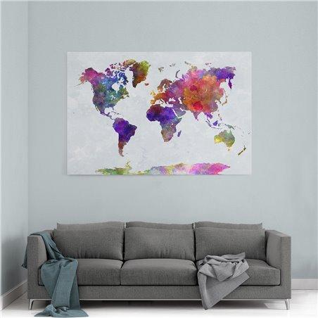 Koyu Dünya Haritası Kanvas Tablosu