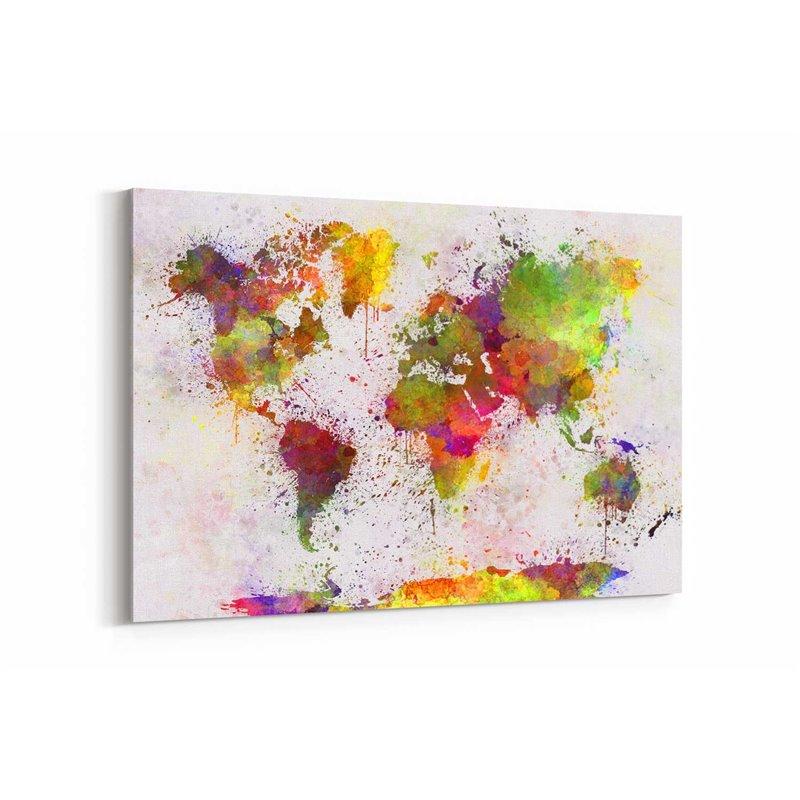 Sprey Dünya Haritası Kanvas Tablosu