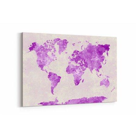 Mor Dünya Haritası Kanvas Tablosu