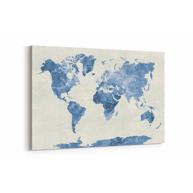 Gri Dünya Haritası Kanvas Tablosu