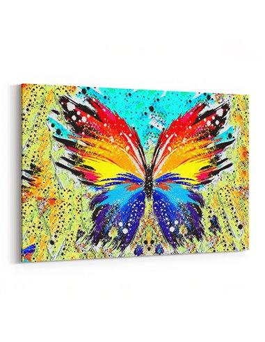 Renkli Kelebek Kanvas Tablo