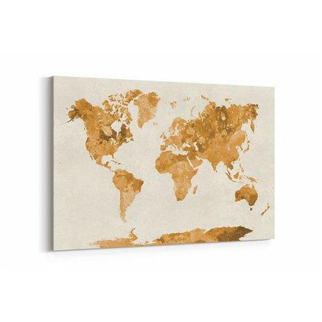 Kahve Tonnları Dünya Haritası Kanvas Tablosu