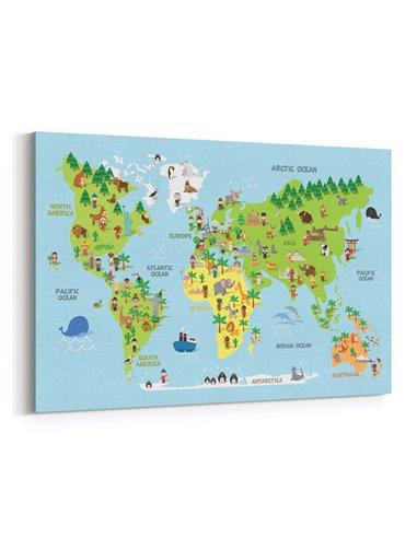 Çocuk Odası Dünya Haritası Kanvas Tablo
