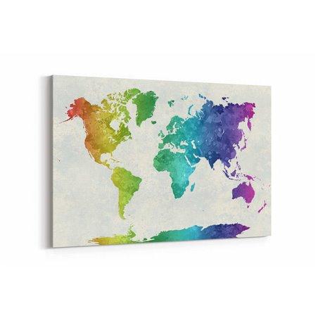Rengarenk Dünya Haritası Kanvas Tablosu