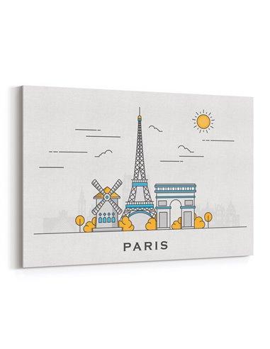Paris İllüstrasyon Kanvas Tablo