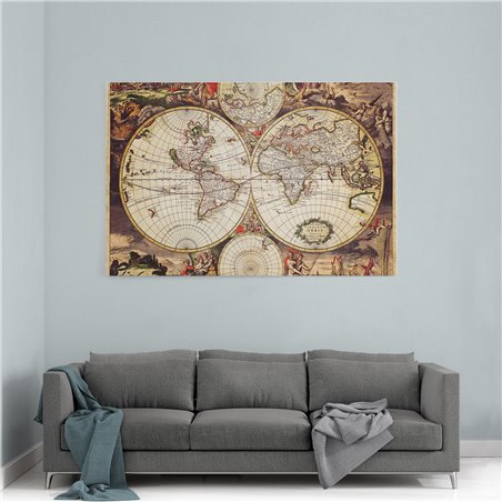 Kaşif Dünya Haritası Kanvas Tablosu