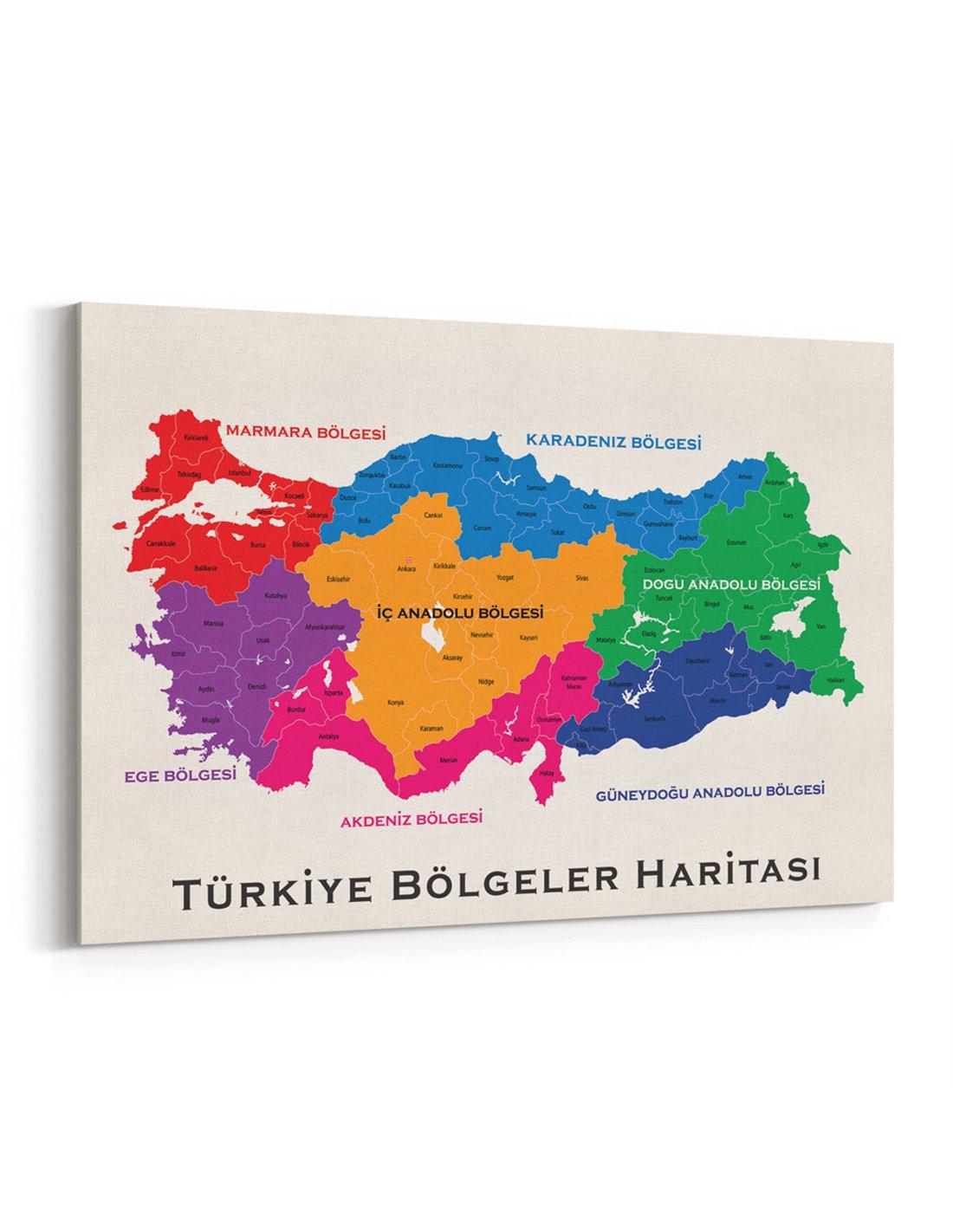 Turkiye Bolgeler Haritasi Kanvas Tablo