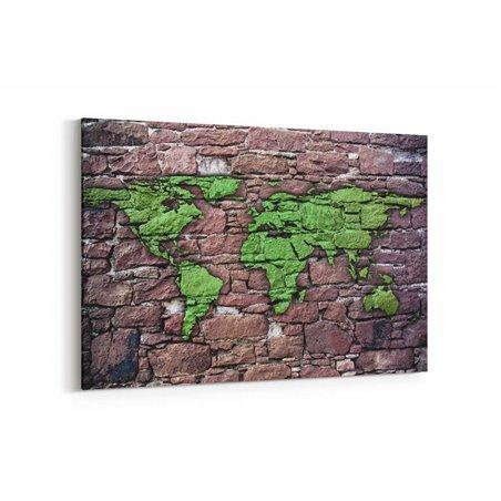 Duvar Dünya Haritası Kanvas Tablosu