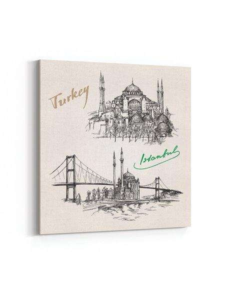 İstanbul Eskiz Kanvas Tablo