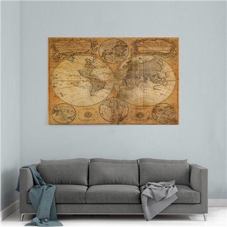 Eski Dünya Haritası Kanvas Tablosu