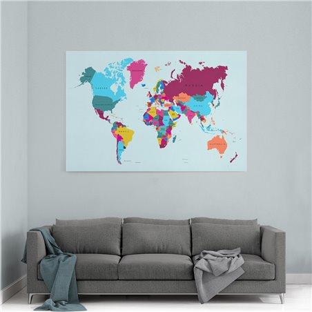 Siyasi Dünya Haritası Kanvas Tablosu