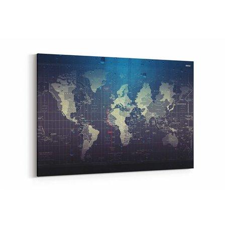 Çizim Dünya Haritası Kanvas Tablosu