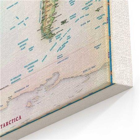 Nostaljik Dünya Harita  Kanvas Tablosu