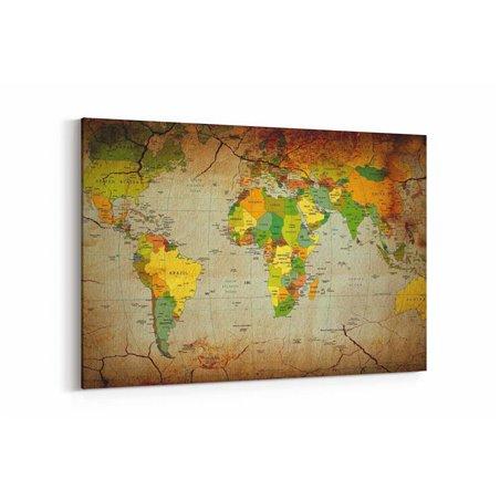 Eskitme Dünya Haritası Kanvas Tablosu