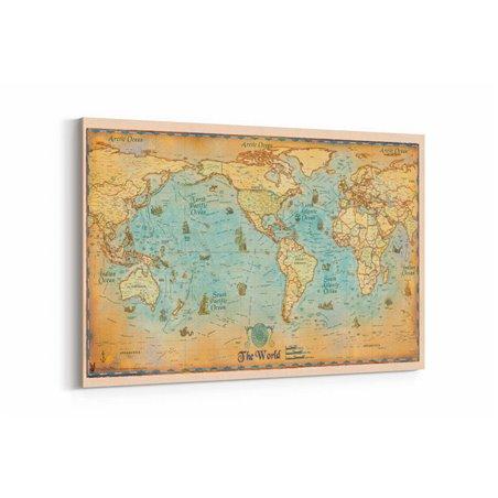 Okyanus Dünya Haritası Kanvas Tablosu