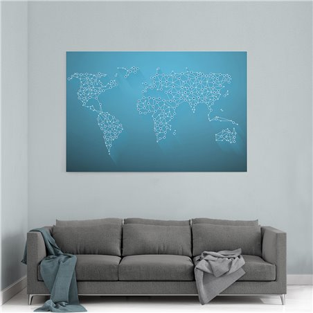 Dijital Dünya Haritası Kanvas Tablosu
