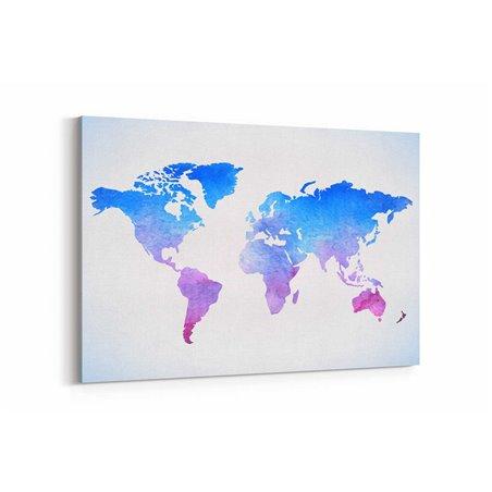 Mavi Dünya Haritası Kanvas Tablosu