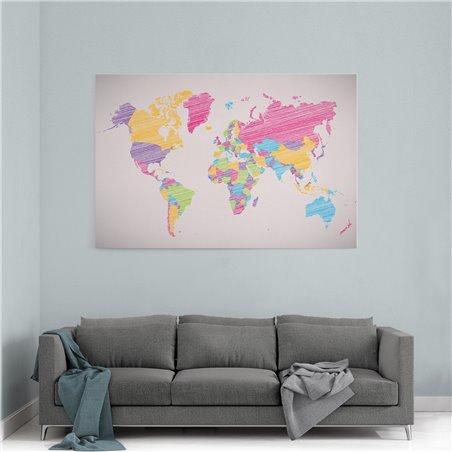 Karalama Dünya Haritası Kanvas Tablosu