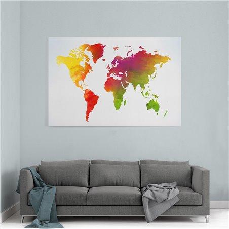 Kızıl Dünya Haritası Kanvas Tablosu