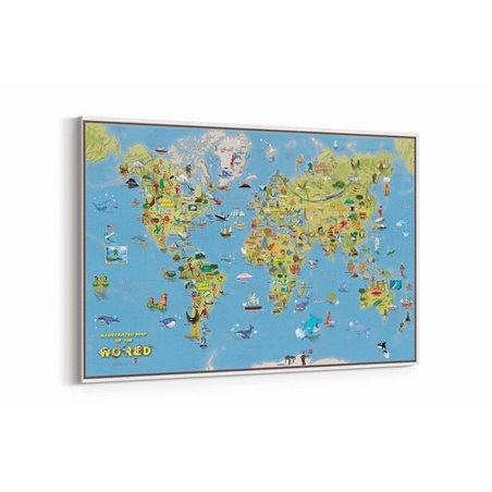 Trustik Dünya Haritası Kanvas Tablosu