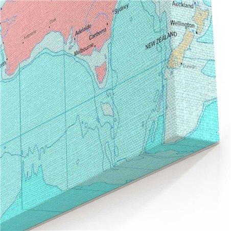 Açık Dünya Haritası Kanvas Tablosu