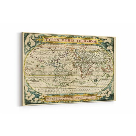 Latince Dünya Haritası Kanvas Tablosu