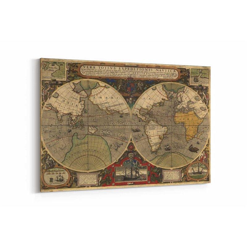 Yuvarlak Dünya Haritası Kanvas Tablosu