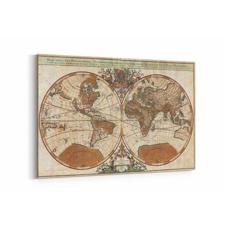 Dünya Haritası Eski Kanvas Tablosu