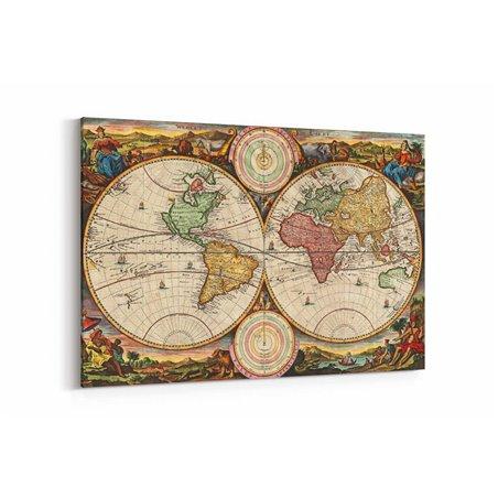 Eski Çağlar Dünya Haritası Kanvas Tablosu