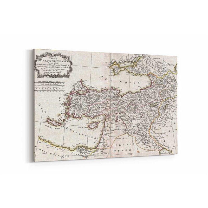 Eski Anadolu Haritası Kanvas Tablosu