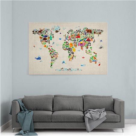 Hayvanlı Dünya Haritası Kanvas Tablosu