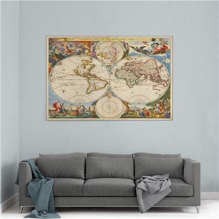 Antik Dünya Haritası Kanvas Tablosu