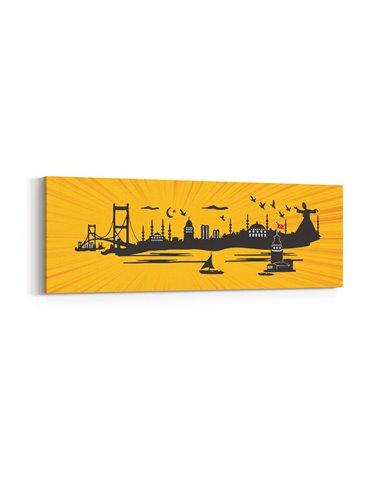 Panoramik İstanbul Siluet Kanvas Tablo