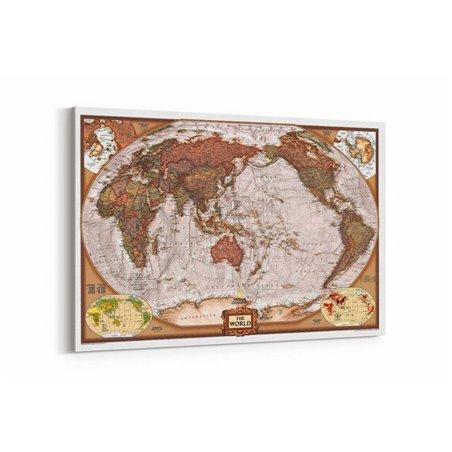 Coğrafi Dünya Haritası Kanvas Tablosu