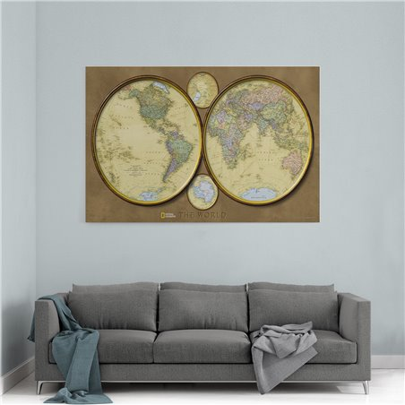 Daireler Dünya Haritası Kanvas Tablosu
