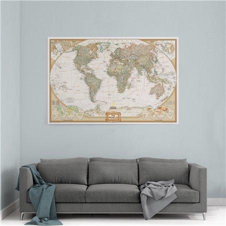 National Dünya Haritası  Kanvas Tablosu