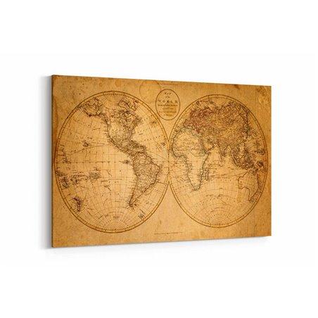 Eskitme Harita Kanvas Tablosu