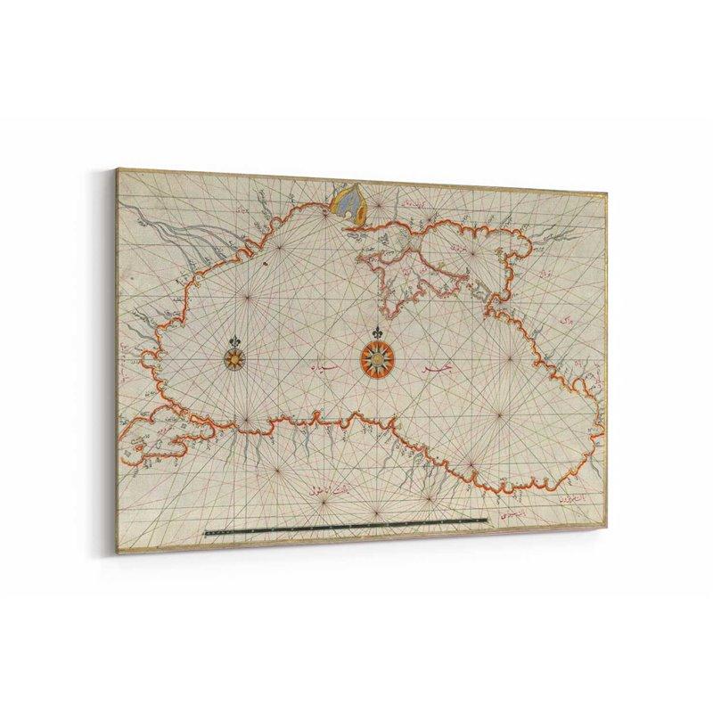 Eski Harita Kanvas Tablosu