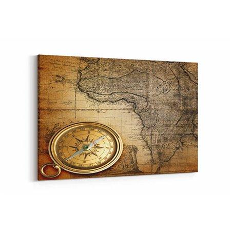Pusula ve Harita Kanvas Tablosu