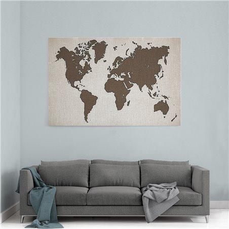 Kanvas Dünya Haritası Kanvas Tablosu