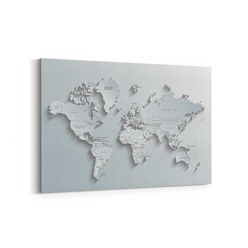 Beyaz Dünya Haritası Kanvas Tablosu