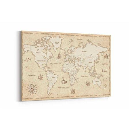 Güzel Dünya Haritası Kanvas Tablosu