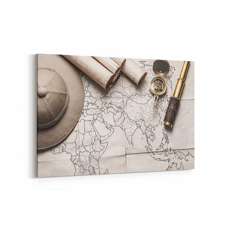 Kaşif Haritası Kanvas Tablosu