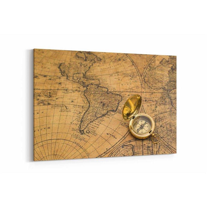 Altın Pusula ve Harita Kanvas Tablosu