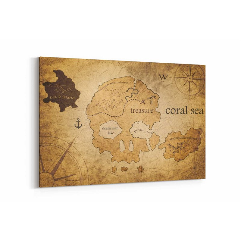 Korsan Haritası Kanvas Tablosu