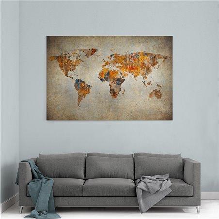 Duvardaki Harita Kanvas Tablosu