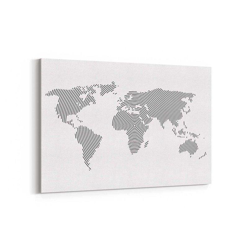Parmak izi Dünya Haritası Kanvas Tablosu