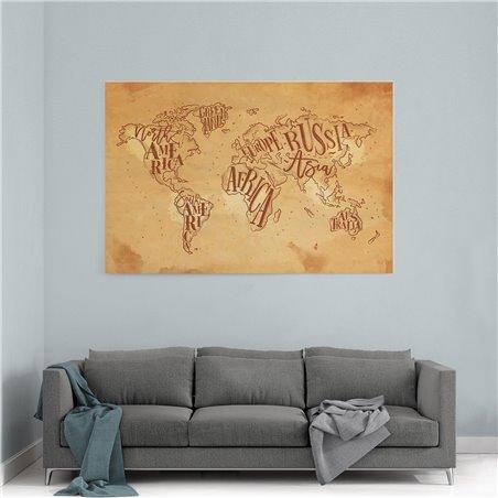 Eski Sitil Dünya Haritası Kanvas Tablosu